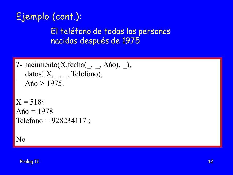 Prolog II12 Ejemplo (cont.): - nacimiento(X,fecha(_, _, Año), _), | datos( X, _, _, Telefono), | Año > 1975.