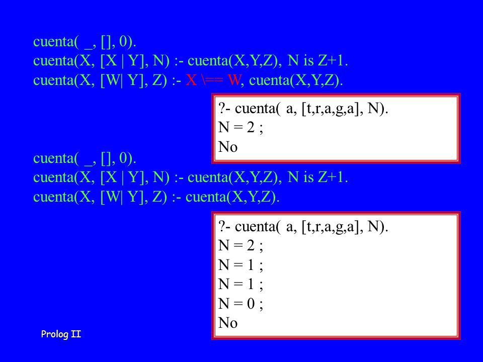 Prolog II28 cuenta( _, [], 0). cuenta(X, [X | Y], N) :- cuenta(X,Y,Z), N is Z+1.