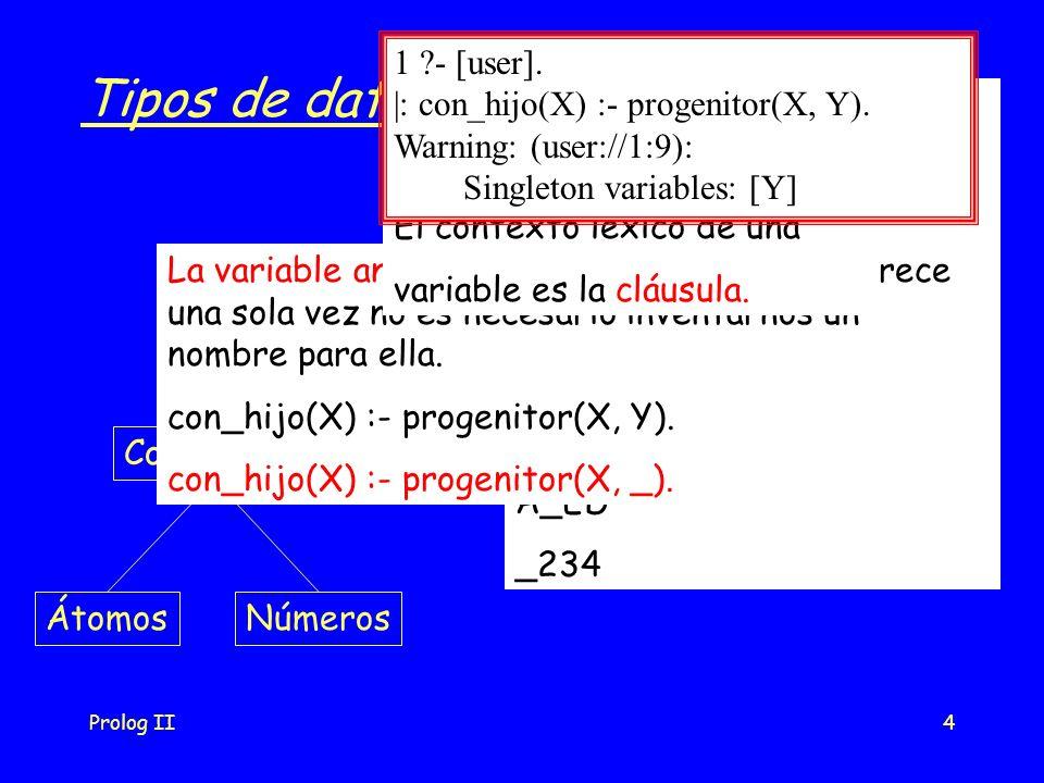 Prolog II4 Tipos de datos Datos Términos simplesEstructuras ConstantesVariables ÁtomosNúmeros Variables: Cadenas de caracteres, números y _, que comiencen con mayúscula o _ _pepe Nil _x25 A_ED _234 La variable anónima: cuando una variable aparece una sola vez no es necesario inventarnos un nombre para ella.