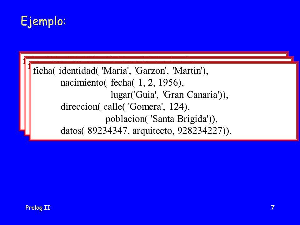 Prolog II7 Ejemplo: ficha( identidad( Luis , Perez , Martinez ), nacimiento( fecha( 10, 5, 1970), lugar( Teror , Gran Canaria )), direccion( calle( Perez Galdos , 41), poblacion( Las Palmas de Gran Canaria )), datos( 42232787, estudiante, 928234567)).
