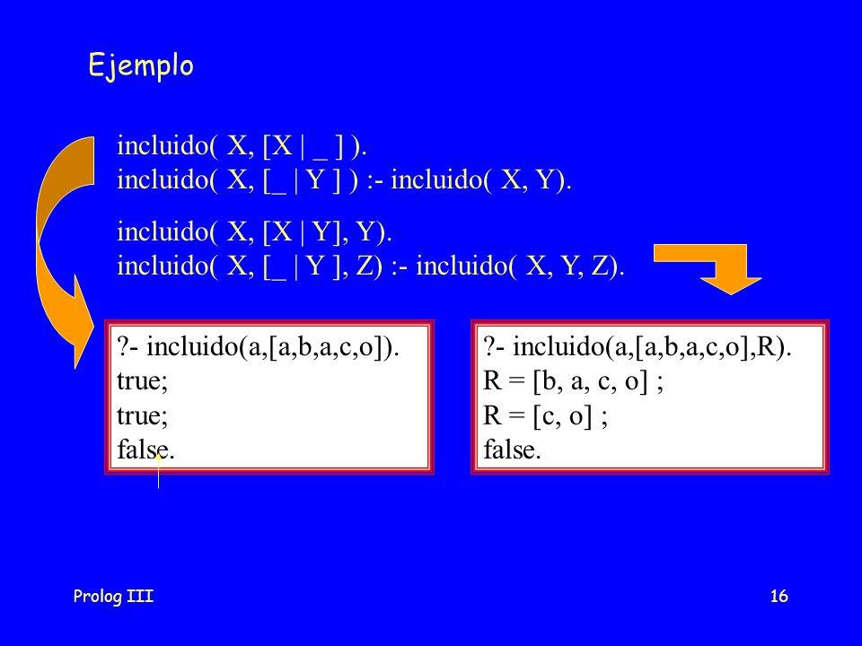 Prolog III16 Ejemplo incluido( X, [X | Y], Y). incluido( X, [_ | Y ], Z) :- incluido( X, Y, Z). incluido( X, [X | _ ] ). incluido( X, [_ | Y ] ) :- in