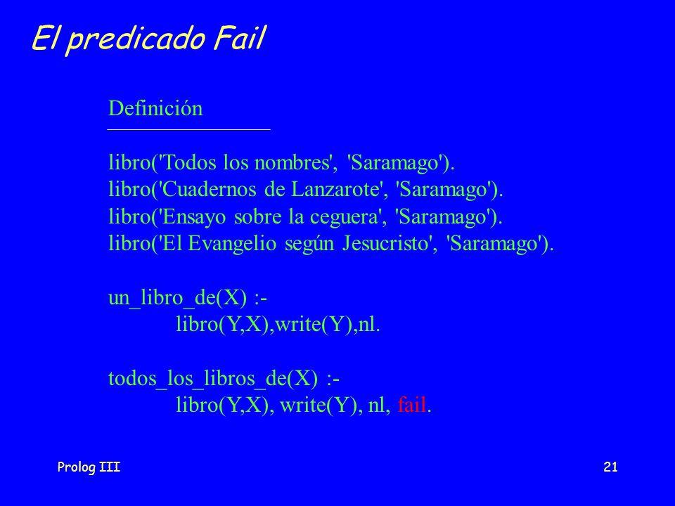 Prolog III21 El predicado Fail Definición libro('Todos los nombres', 'Saramago'). libro('Cuadernos de Lanzarote', 'Saramago'). libro('Ensayo sobre la