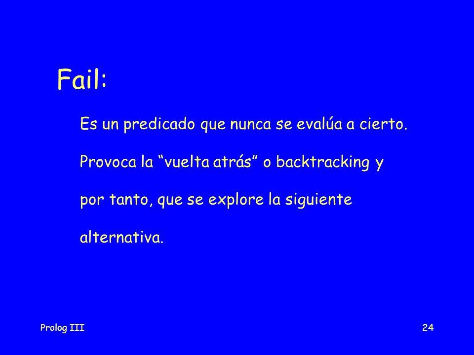 Prolog III24 Fail: Es un predicado que nunca se evalúa a cierto. Provoca la vuelta atrás o backtracking y por tanto, que se explore la siguiente alter