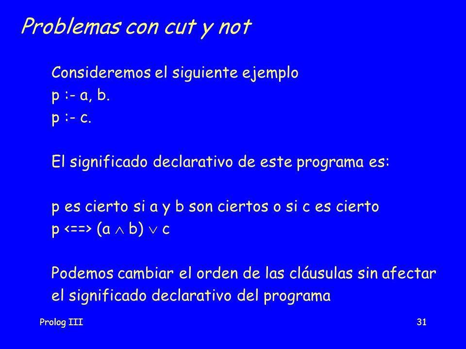 Prolog III31 Problemas con cut y not Consideremos el siguiente ejemplo p :- a, b. p :- c. El significado declarativo de este programa es: p es cierto