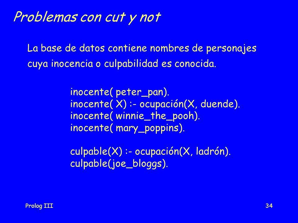 Prolog III34 Problemas con cut y not inocente( peter_pan). inocente( X) :- ocupación(X, duende). inocente( winnie_the_pooh). inocente( mary_poppins).