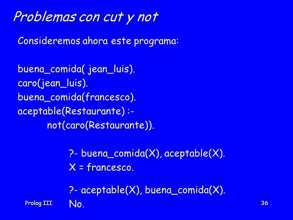 Prolog III36 Problemas con cut y not Consideremos ahora este programa: buena_comida( jean_luis). caro(jean_luis). buena_comida(francesco). aceptable(R