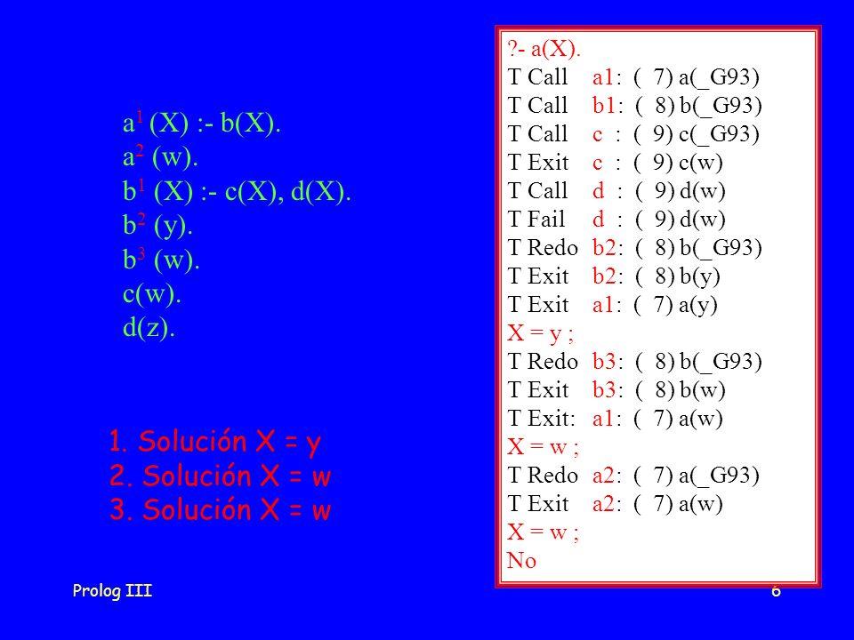 Prolog III6 ?- a(X). T Calla1: ( 7) a(_G93) T Call b1: ( 8) b(_G93) T Call c : ( 9) c(_G93) T Exit c : ( 9) c(w) T Call d : ( 9) d(w) T Fail d : ( 9)