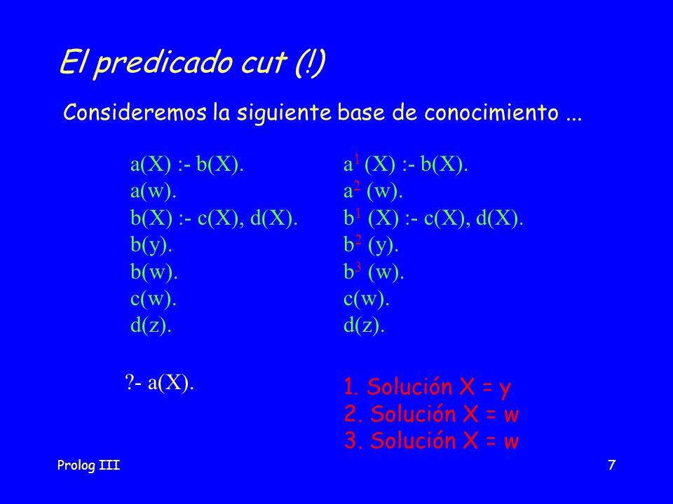 Prolog III7 El predicado cut (!) a(X) :- b(X). a(w). b(X) :- c(X), d(X). b(y). b(w). c(w). d(z). Consideremos la siguiente base de conocimiento... ?-