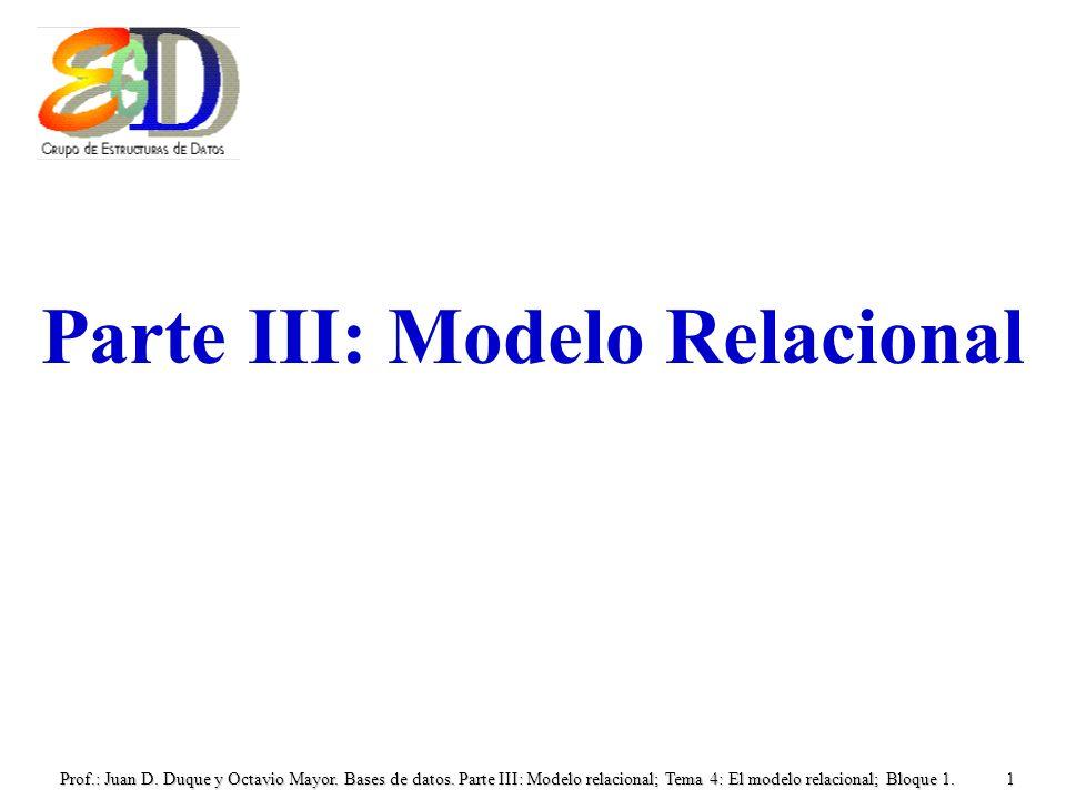 Prof.: Juan D. Duque y Octavio Mayor. Bases de datos. Parte III: Modelo relacional; Tema 4: El modelo relacional; Bloque 1.1 Parte III: Modelo Relacio