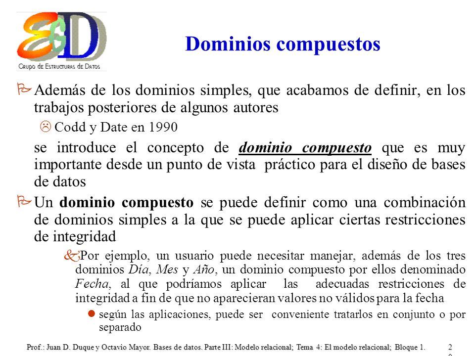Prof.: Juan D. Duque y Octavio Mayor. Bases de datos. Parte III: Modelo relacional; Tema 4: El modelo relacional; Bloque 1.20 Dominios compuestos PAde