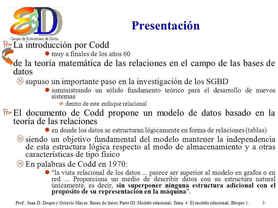 Prof.: Juan D. Duque y Octavio Mayor. Bases de datos. Parte III: Modelo relacional; Tema 4: El modelo relacional; Bloque 1.3 Presentación PLa introduc