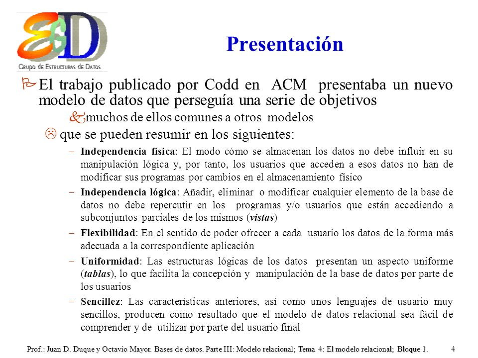 Prof.: Juan D. Duque y Octavio Mayor. Bases de datos. Parte III: Modelo relacional; Tema 4: El modelo relacional; Bloque 1.4 Presentación PEl trabajo