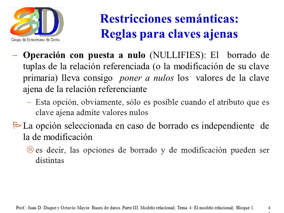 Prof.: Juan D. Duque y Octavio Mayor. Bases de datos. Parte III: Modelo relacional; Tema 4: El modelo relacional; Bloque 1.44 Restricciones semánticas