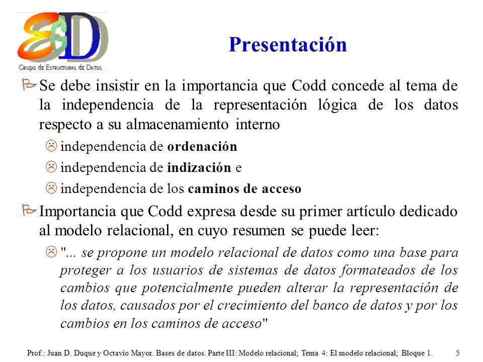 Prof.: Juan D. Duque y Octavio Mayor. Bases de datos. Parte III: Modelo relacional; Tema 4: El modelo relacional; Bloque 1.5 Presentación PSe debe ins