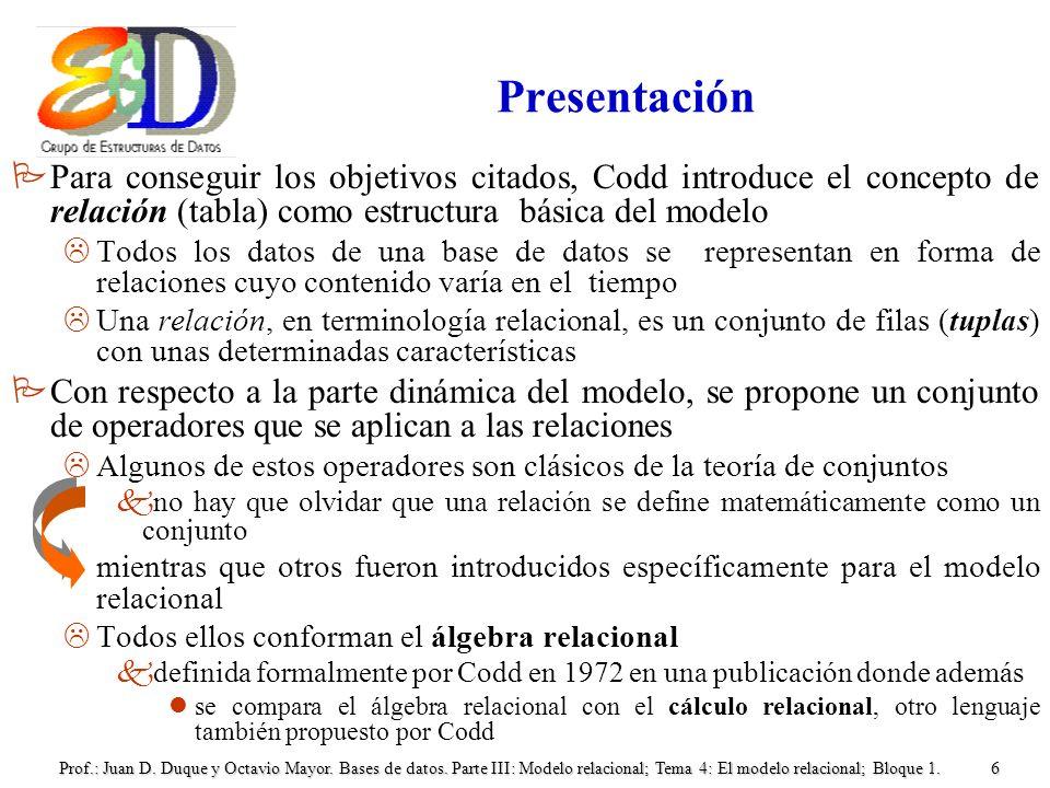 Prof.: Juan D. Duque y Octavio Mayor. Bases de datos. Parte III: Modelo relacional; Tema 4: El modelo relacional; Bloque 1.6 Presentación PPara conseg