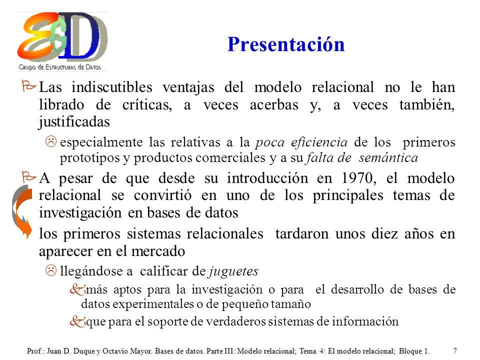 Prof.: Juan D. Duque y Octavio Mayor. Bases de datos. Parte III: Modelo relacional; Tema 4: El modelo relacional; Bloque 1.7 Presentación PLas indiscu