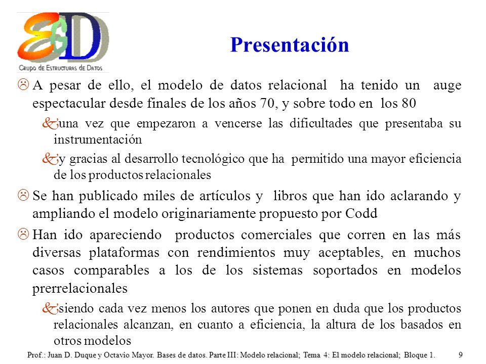 Prof.: Juan D. Duque y Octavio Mayor. Bases de datos. Parte III: Modelo relacional; Tema 4: El modelo relacional; Bloque 1.9 Presentación LA pesar de