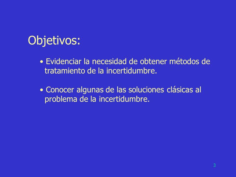 3 Objetivos: Evidenciar la necesidad de obtener métodos de tratamiento de la incertidumbre. Conocer algunas de las soluciones clásicas al problema de