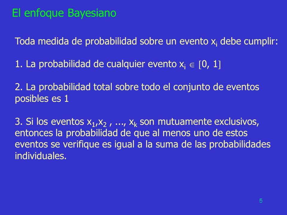 5 Toda medida de probabilidad sobre un evento x i debe cumplir: 1. La probabilidad de cualquier evento x i 0, 1 2. La probabilidad total sobre todo el