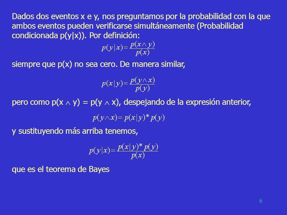6 Dados dos eventos x e y, nos preguntamos por la probabilidad con la que ambos eventos pueden verificarse simultáneamente (Probabilidad condicionada