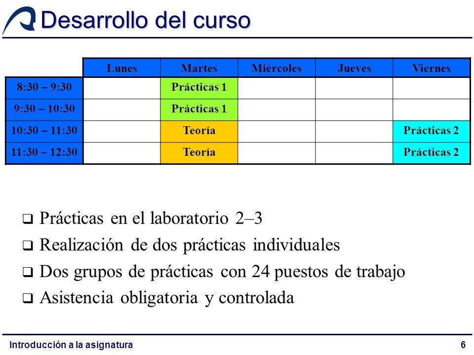 Introducción a la asignatura7 Desarrollo del curso Los alumnos deben elegir un grupo El grupo 2 de prácticas coincide con AGSI (optativa), por lo que los matriculados en esta asignatura deben elegir el 1 El grupo 1 de prácticas coincide con el 2 de TCN (obligatoria), por lo que los que lo elijan deben optar por el 1 en TCN LunesMartesMiércolesJuevesViernes 8:30 – 9:30Prácticas 1 9:30 – 10:30Prácticas 1 10:30 – 11:30TeoríaPrácticas 2 11:30 – 12:30TeoríaPrácticas 2