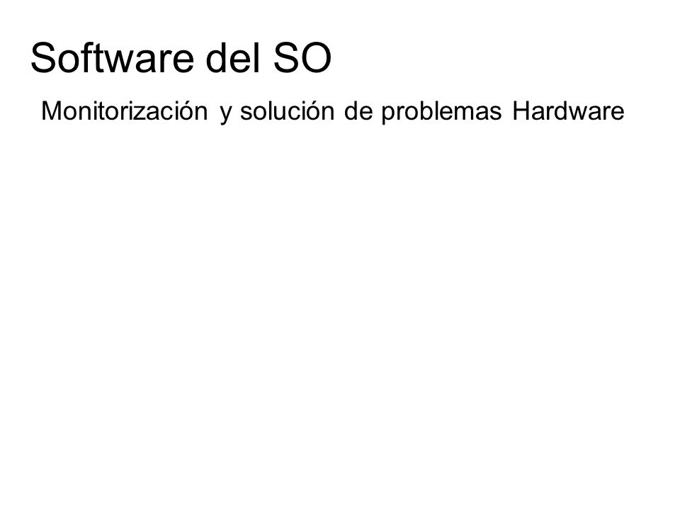 Software del SO Monitorización y solución de problemas Hardware