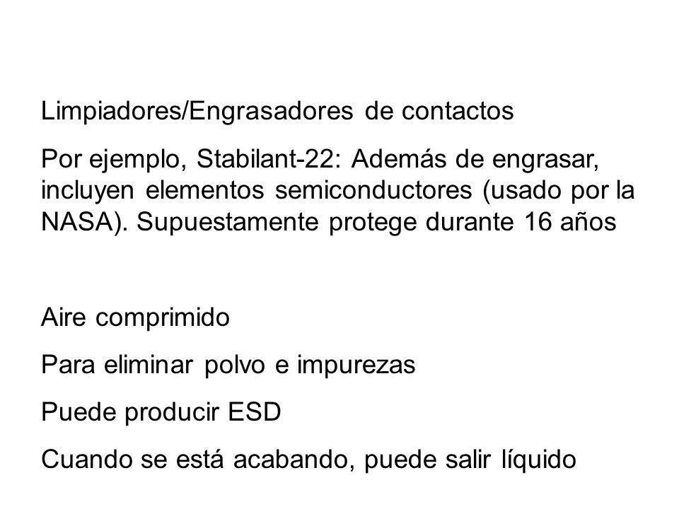 Limpiadores/Engrasadores de contactos Por ejemplo, Stabilant-22: Además de engrasar, incluyen elementos semiconductores (usado por la NASA). Supuestam