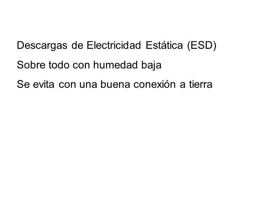 Descargas de Electricidad Estática (ESD) Sobre todo con humedad baja Se evita con una buena conexión a tierra