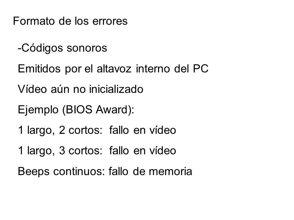 Formato de los errores -Códigos sonoros Emitidos por el altavoz interno del PC Vídeo aún no inicializado Ejemplo (BIOS Award): 1 largo, 2 cortos: fall