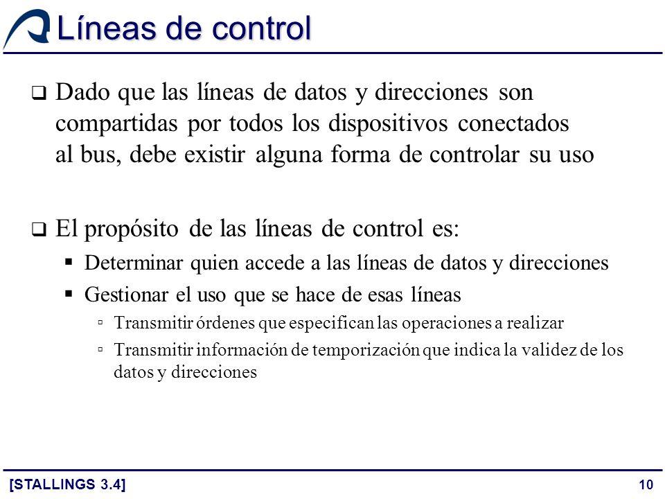 10 Líneas de control Dado que las líneas de datos y direcciones son compartidas por todos los dispositivos conectados al bus, debe existir alguna form