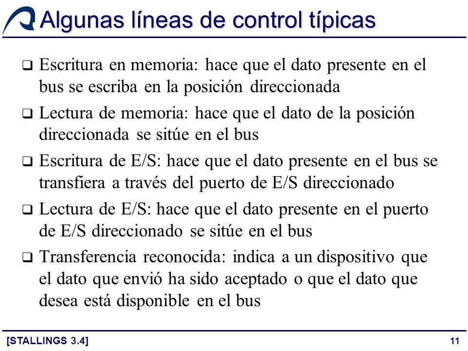11 Algunas líneas de control típicas Escritura en memoria: hace que el dato presente en el bus se escriba en la posición direccionada Lectura de memor
