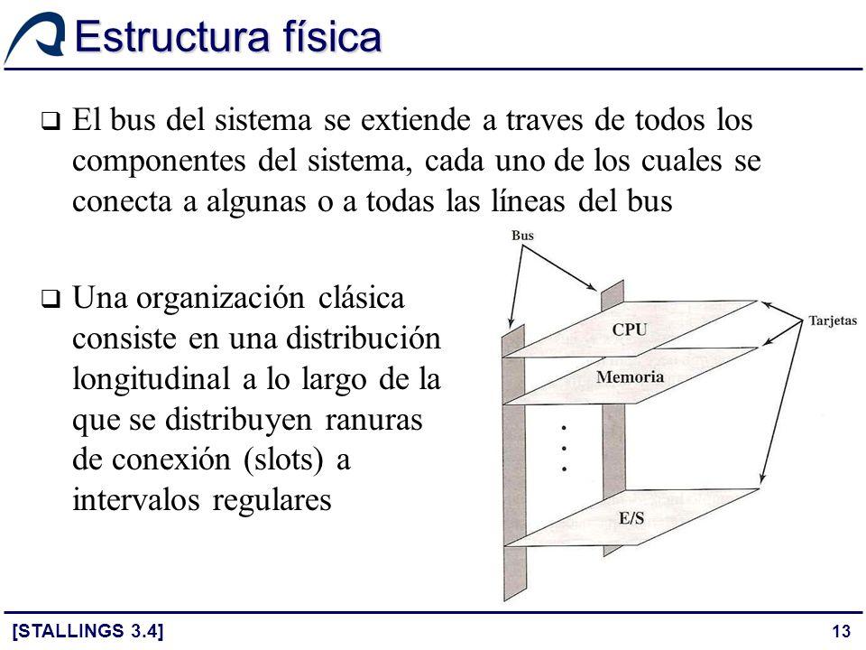 13 Estructura física El bus del sistema se extiende a traves de todos los componentes del sistema, cada uno de los cuales se conecta a algunas o a tod