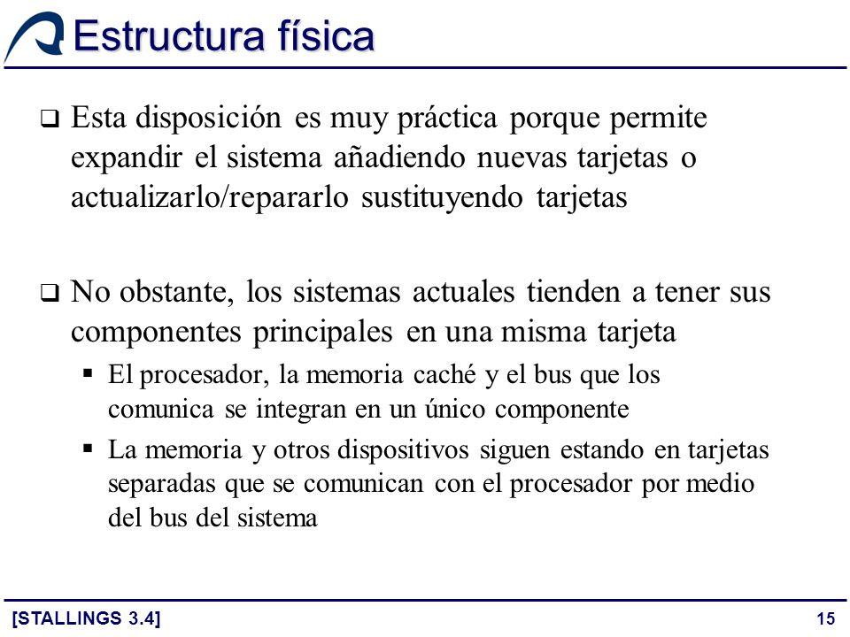 15 Estructura física Esta disposición es muy práctica porque permite expandir el sistema añadiendo nuevas tarjetas o actualizarlo/repararlo sustituyen