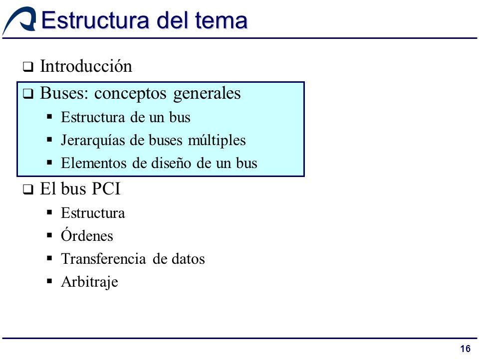 16 Estructura del tema Introducción Buses: conceptos generales Estructura de un bus Jerarquías de buses múltiples Elementos de diseño de un bus El bus