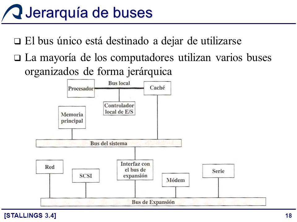 18 Jerarquía de buses El bus único está destinado a dejar de utilizarse La mayoría de los computadores utilizan varios buses organizados de forma jerá