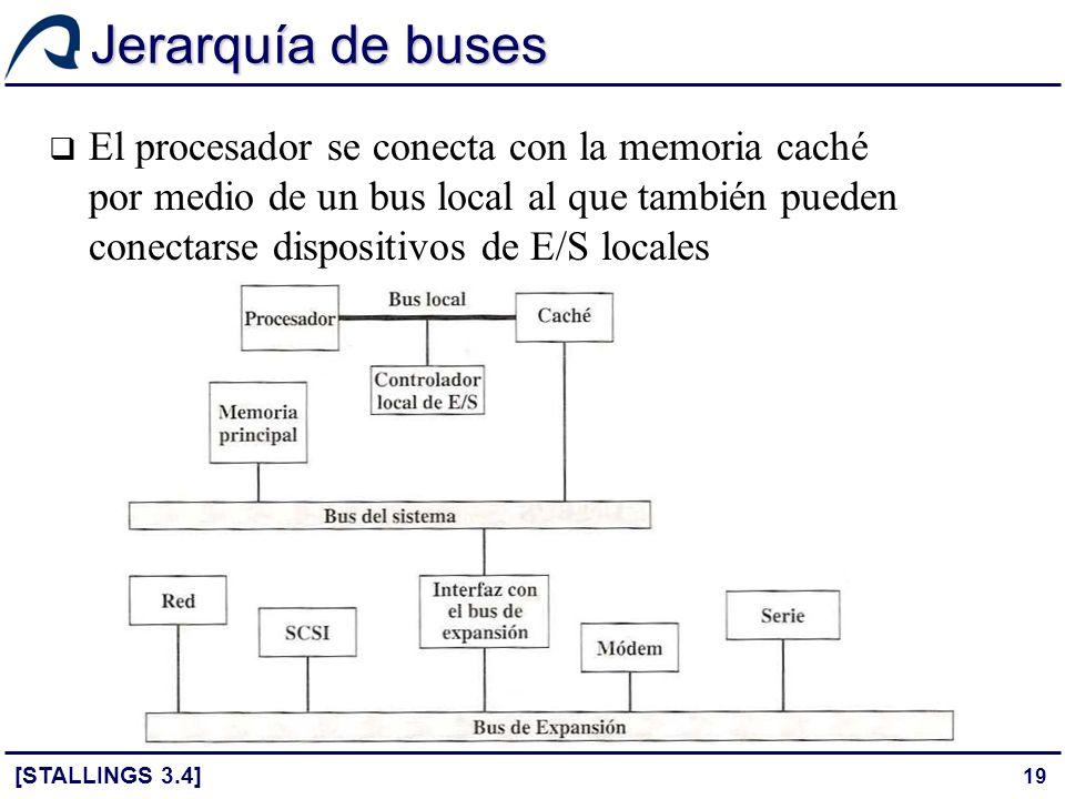 19 Jerarquía de buses El procesador se conecta con la memoria caché por medio de un bus local al que también pueden conectarse dispositivos de E/S loc