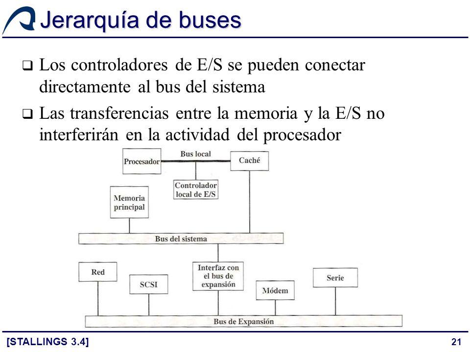 21 Jerarquía de buses Los controladores de E/S se pueden conectar directamente al bus del sistema Las transferencias entre la memoria y la E/S no inte