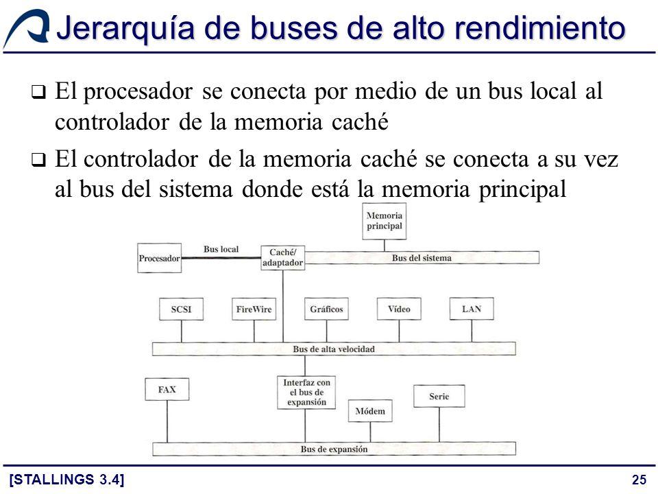 25 Jerarquía de buses de alto rendimiento El procesador se conecta por medio de un bus local al controlador de la memoria caché El controlador de la m
