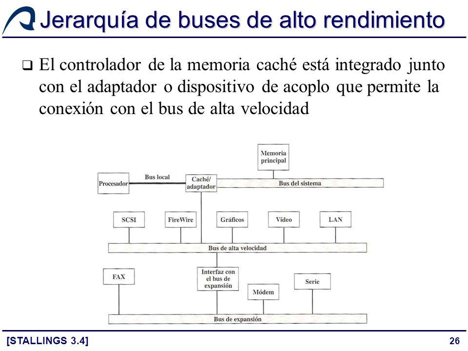 26 Jerarquía de buses de alto rendimiento El controlador de la memoria caché está integrado junto con el adaptador o dispositivo de acoplo que permite