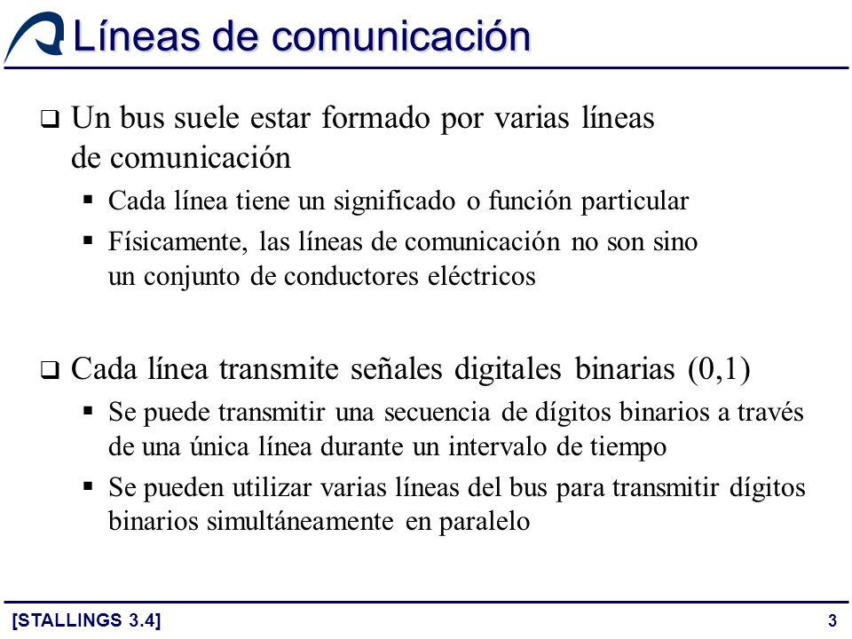 54 Estructura del bus PCI [STALLINGS 3.5] El estándar actual permite configurar el bus PCI como un bus de 32 ó 64 bits Hay 49 líneas de señal obligatorias que se dividen en los siguientes grupos funcionales: Terminales de sistema: reloj y reinicio Terminales de direcciones y datos 32 líneas para direcciones y datos multiplexadas en el tiempo Líneas adicionales para interpretar y validar las direcciones y datos Terminales de control de interfaz: controlan la temporización de las transferencias y permiten la coordinación entre emisor y receptor Terminales de arbitraje: no son líneas compartidas – cada maestro tiene su propio par de líneas que lo conectan con el árbitro del bus Terminales para señales de error: utilizadas para indicar errores (paridad…)