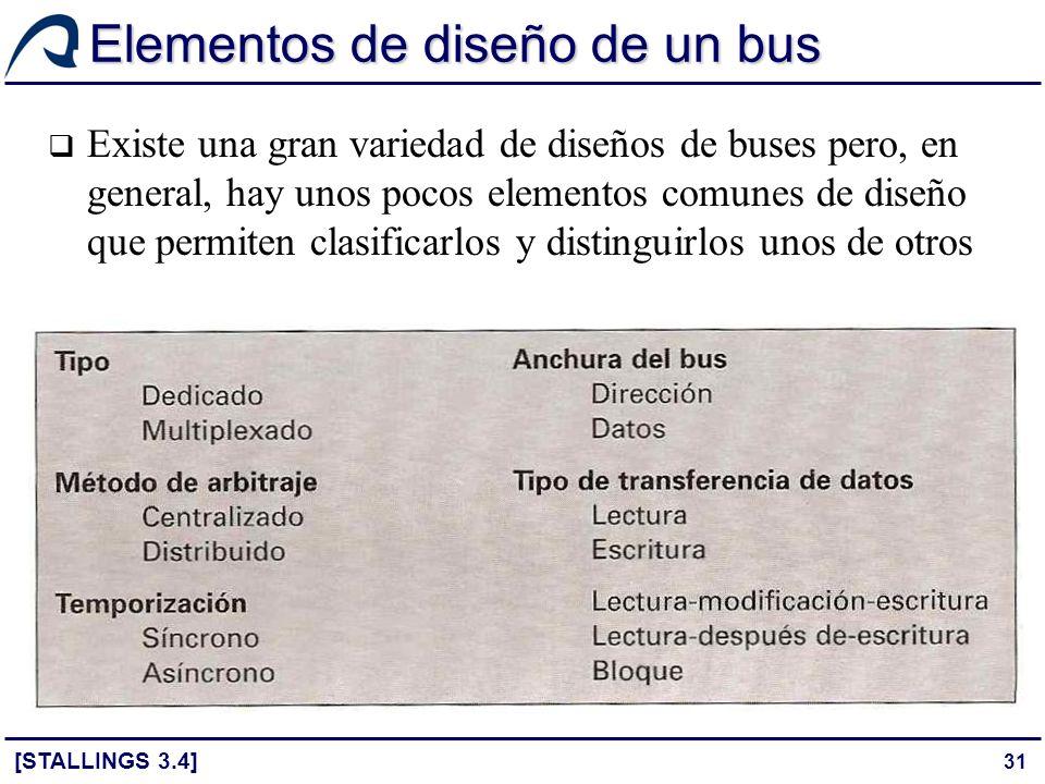 31 Elementos de diseño de un bus Existe una gran variedad de diseños de buses pero, en general, hay unos pocos elementos comunes de diseño que permite