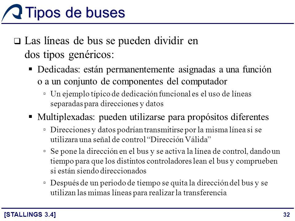 32 Tipos de buses Las líneas de bus se pueden dividir en dos tipos genéricos: Dedicadas: están permanentemente asignadas a una función o a un conjunto