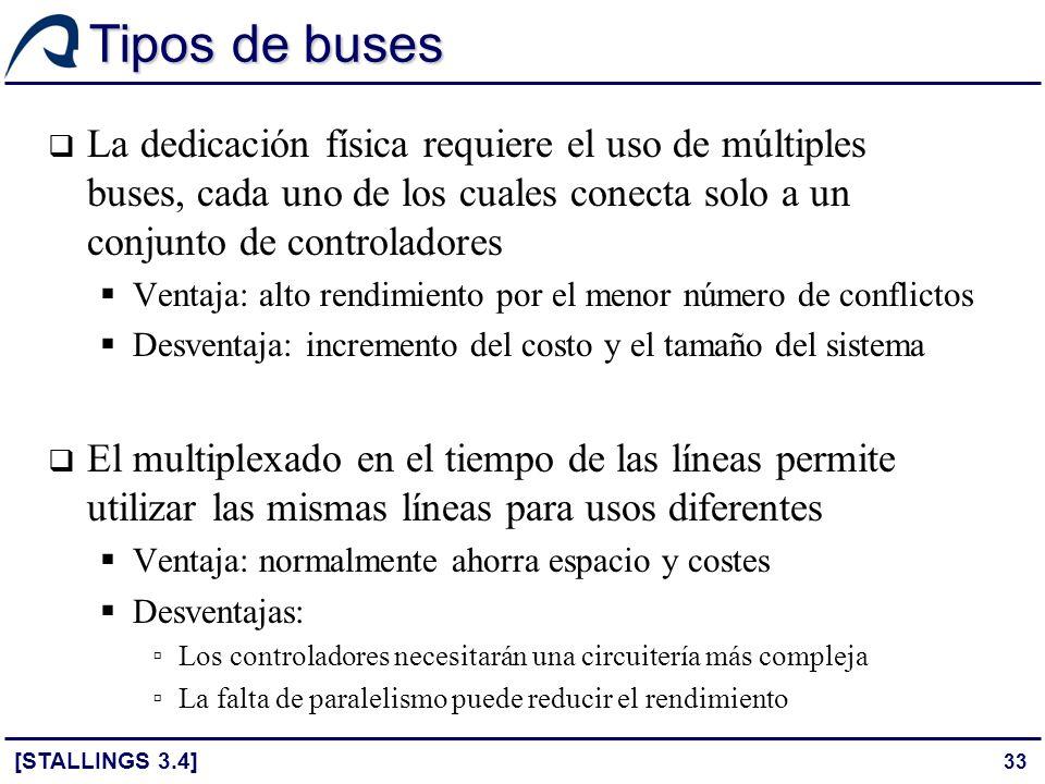 33 Tipos de buses La dedicación física requiere el uso de múltiples buses, cada uno de los cuales conecta solo a un conjunto de controladores Ventaja: