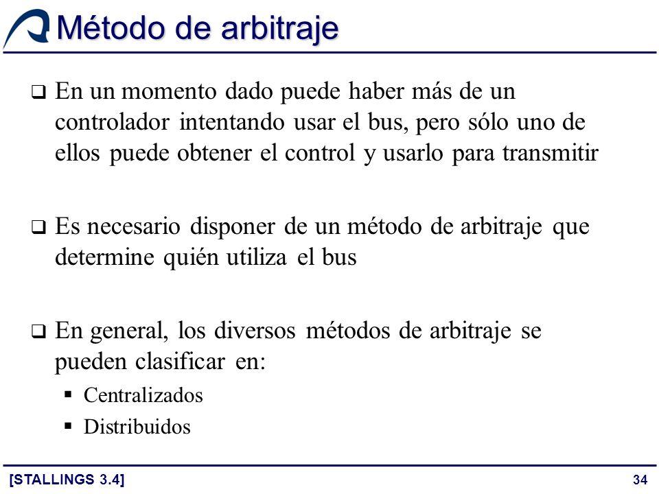 34 Método de arbitraje En un momento dado puede haber más de un controlador intentando usar el bus, pero sólo uno de ellos puede obtener el control y