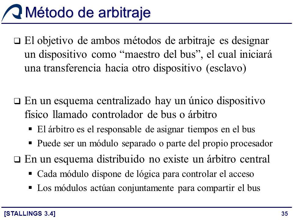 35 Método de arbitraje El objetivo de ambos métodos de arbitraje es designar un dispositivo como maestro del bus, el cual iniciará una transferencia h