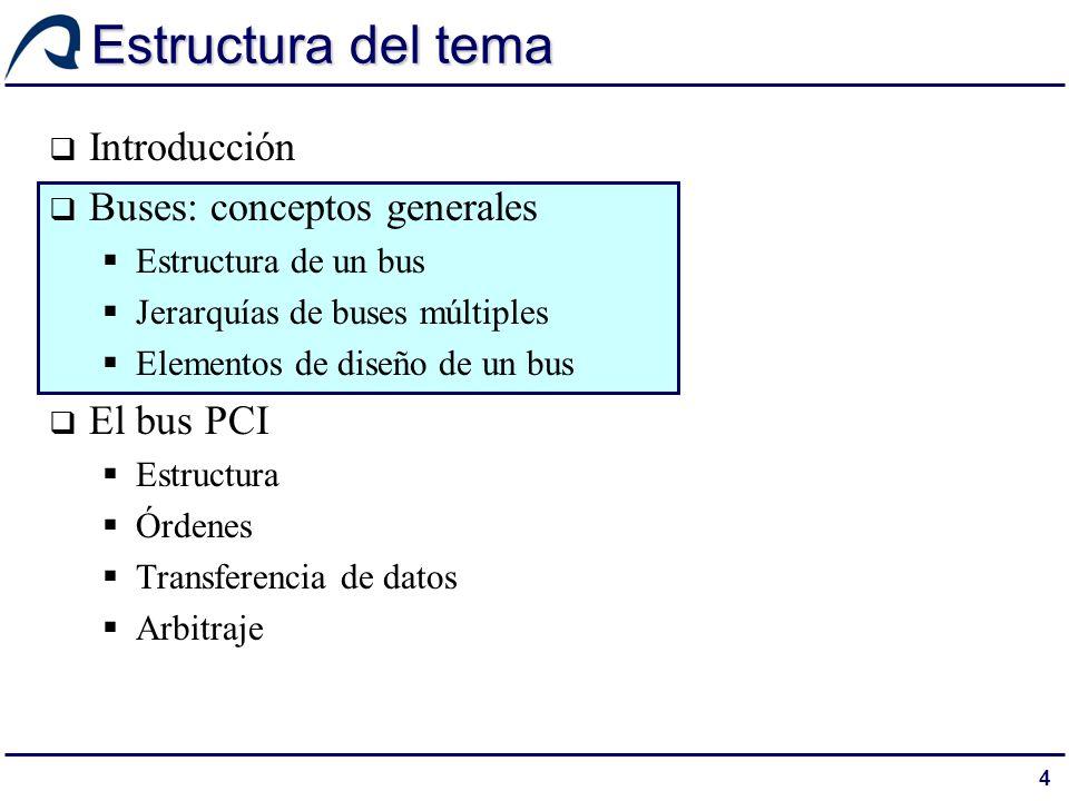 5 El bus del sistema Los computadores poseen diferentes tipos de buses que proporcionan comunicación a distintos niveles entre sus componentes El bus que conecta los componentes principales del computador (procesador, memoria y E/S) es el llamado bus del sistema [STALLINGS 3.4]