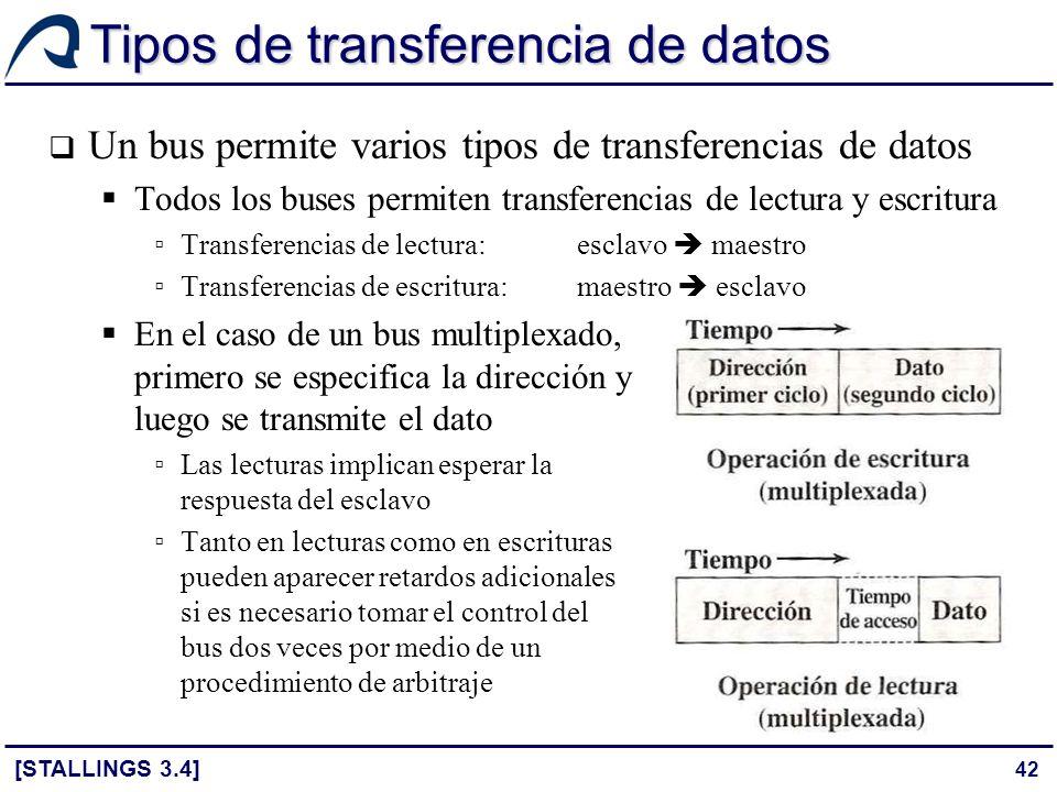 42 Tipos de transferencia de datos Un bus permite varios tipos de transferencias de datos Todos los buses permiten transferencias de lectura y escritu