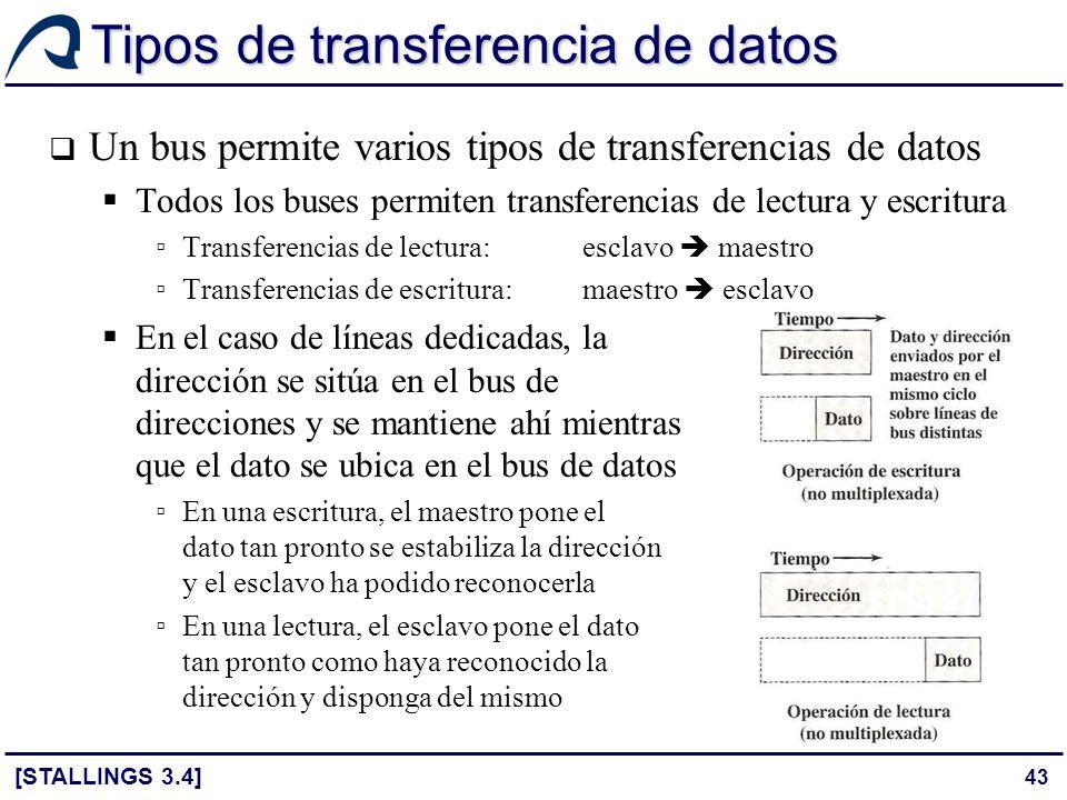 43 Tipos de transferencia de datos Un bus permite varios tipos de transferencias de datos Todos los buses permiten transferencias de lectura y escritu