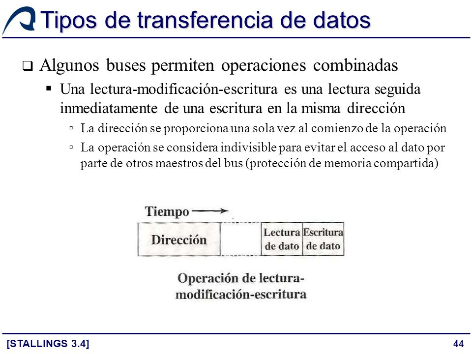 44 Tipos de transferencia de datos Algunos buses permiten operaciones combinadas Una lectura-modificación-escritura es una lectura seguida inmediatame