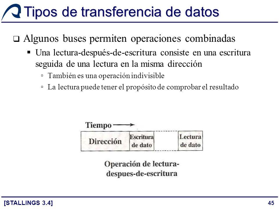 45 Tipos de transferencia de datos Algunos buses permiten operaciones combinadas Una lectura-después-de-escritura consiste en una escritura seguida de